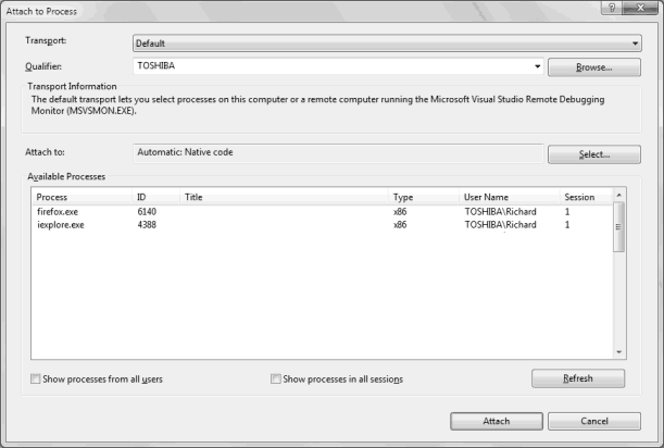 Visual Studio Attach to Process dialog box
