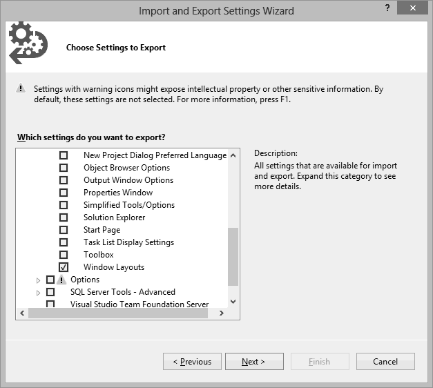 Exporting Visual Studio Window Layouts