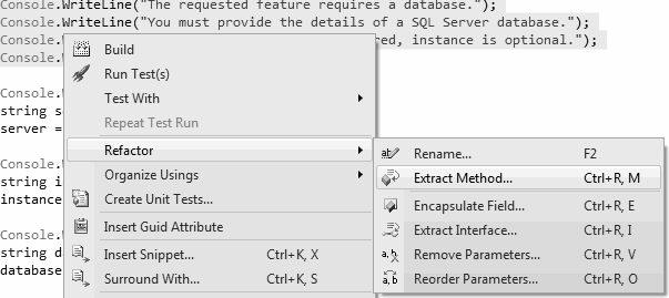 Visual Studio Extract Method Command