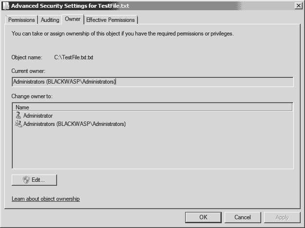 File owner in Windows 2008 R2
