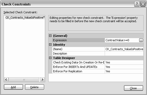 SQL Server Check Constraints dialog box