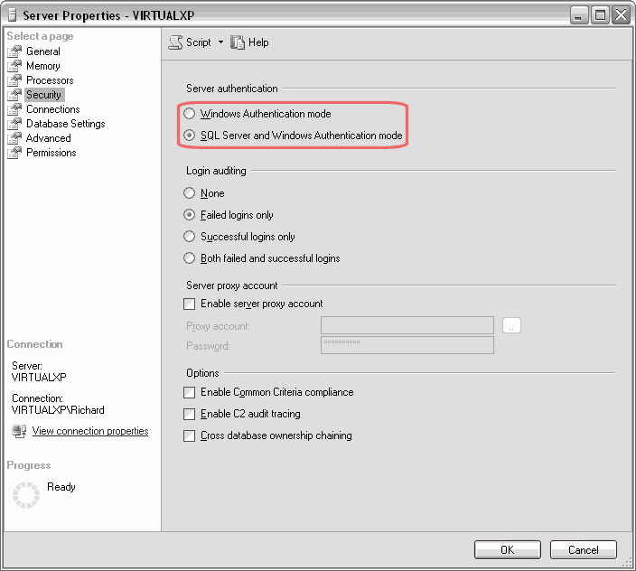SQL Server authentication settings