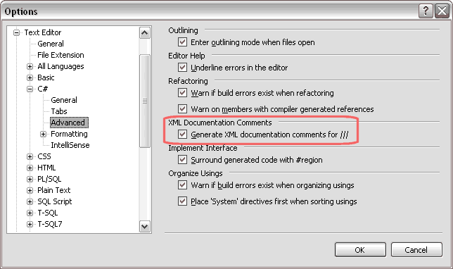 Visual Studio XML Documentation Comments Options