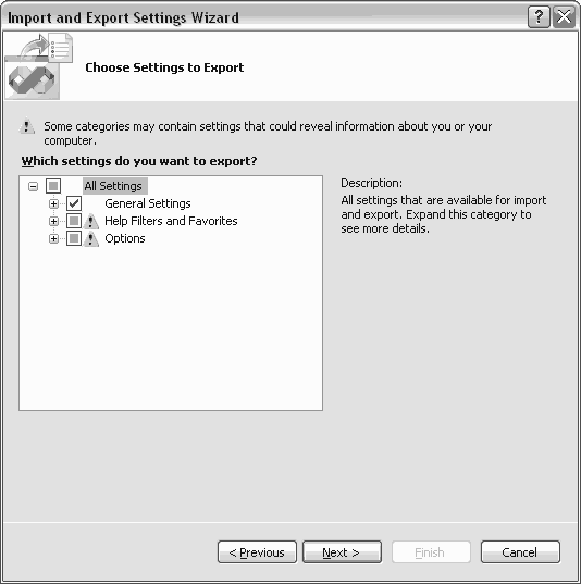 Visual Studio Export Settings Options