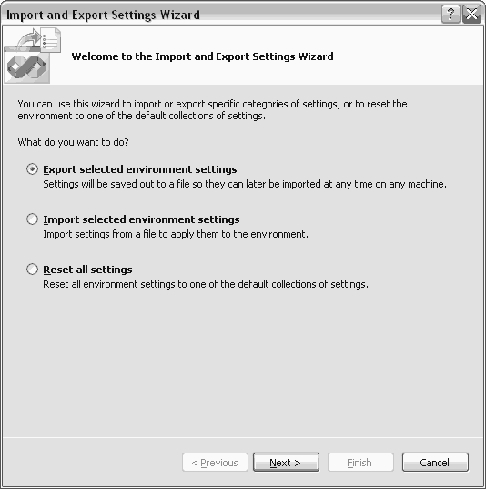 Visual Studio Import and Export Settings Wizard