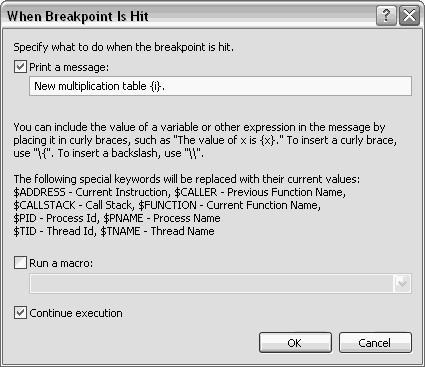 Tracepoint dialog box