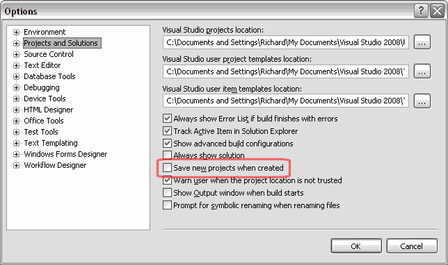 Visual Studio 2005 Projects and Solutions Settings