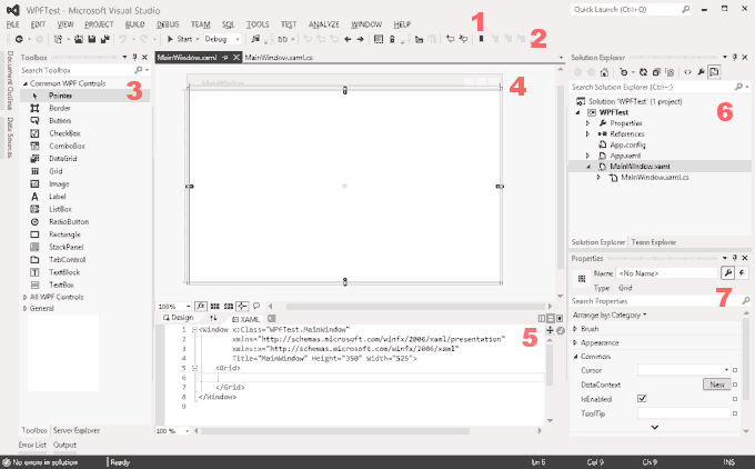 Visual Studio Layout for WPF Application